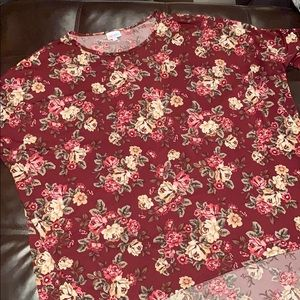 LuLaRoe burgundy floral Irma tunic